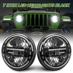 Pair Black 7'' Round LED Headlights DRL Halo For Jeep Wrangler TJ JK 1997 to 2017