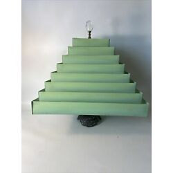 Kyпить Vintage Retro/ Atomic /Mid Century Venetian Blind Green Metal LAMP SHADE 8 TIERS на еВаy.соm