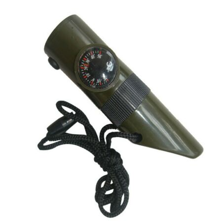 img-Army Green 7 In 1 LED Flashlight Compass Magnifier Thermometer Whistle Outdoor