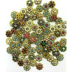 Kyпить T035 - 60 Set w/Swarovski Rhinestones - Mix Filigree Flower Components - Sew Ons на еВаy.соm