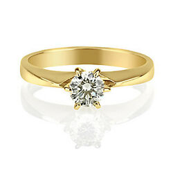 Kyпить YELLOW 14K GOLD 0.7 CARAT H/VS ROUND CUT DIAMOND BETROTHAL RING на еВаy.соm