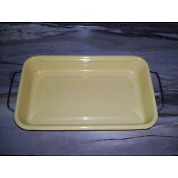 Kyпить Vintage Enamelware Lasagna Pan Yellow with Removable Handles.. Nice! на еВаy.соm