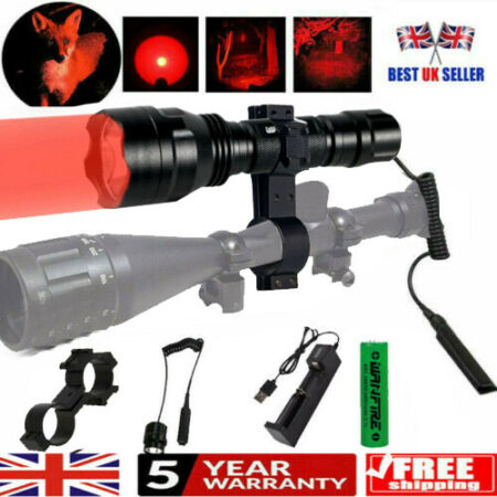 img-8000LM Q5 Tactical Scope Mount LED Flashlight Lamp Hunting Air Rifle Torch Kit