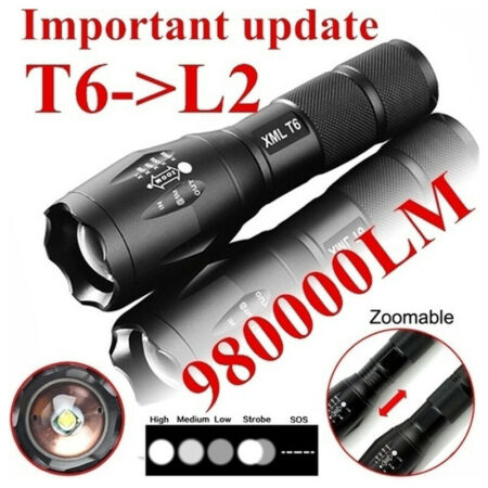 img-T6 Tactical Military LED Flashlight 980000LM Zoomable 5-Mode Without Bat B36A