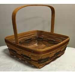 1990 Longaberger Single Handle Pie Basket with Colored Weaves & Protector