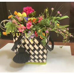 Mackenzie Child Inspired Basket Hand Painted With Tassel Black White Lime Gold