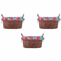 Pioneer Woman Small Oval Multicolored Floral Maize Basket, Set of 3