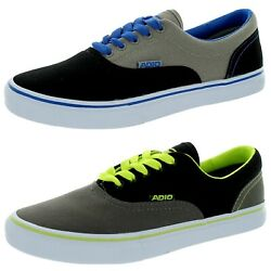 Mens Adio Cruiser Canvas Lace Up Sneakers Tennis Shoes Black Grey 9.5 10.5 11