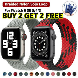 Braided Solo Loop For Apple watch band Nylon Elastic iWatch series 6 5 4 3 2 1