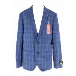 The Savile Row Company Men s Suit Jacket Single Breasted Blue Plaid 40R