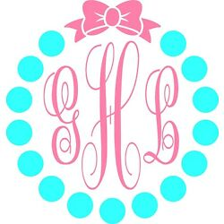 Circle Dots Bow Monogram Personalized Vinyl Decal Car Tumbler YOUR COLOR CHOICE!