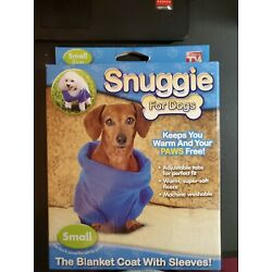 Open Box Item, Dog Snuggie Size Small 8-11 Lbs, Blue, Blanket Coat W/ Sleeves