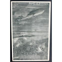 Mint Germany Picture Postcard German Zeppelin Airship At Antwerp WWI