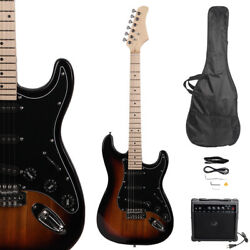 New Burning Fire Electric Guitar with Black Pickguard 20W AMP Sunset