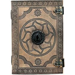 Handmade Leather Bound Notebook Writing Journal Diary Deckle Black stone Book