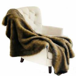 Plutus Brown and Grey Wild Grizzly Bear Faux Fur Luxury