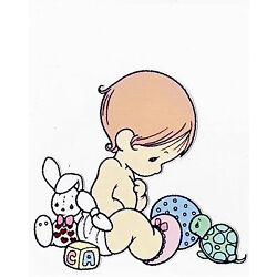 Precious moments girl bunny wall sticker glossy cut out border 4.5 to 8 inch