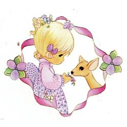 Precious moments girl deer wall sticker peel & stick border cut out 4 inch