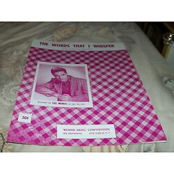 Sal Mineo sheet music The Words That I Whisper 1954 3 pages (VG+ shape)