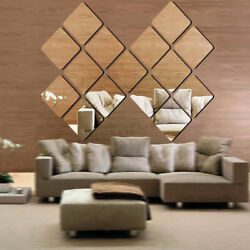 40PCS Mirror Tile Wall Sticker Self Adhesive Home Cosmetic Bathroom  Paper Decal