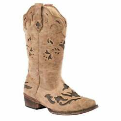 Roper Underlay Round Toe   Womens  Boots   Mid Calf Low Heel 1-2'' - Brown - Size