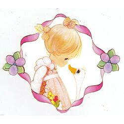 Precious moments girl duck wall sticker peel & stick border cut out 4 inch