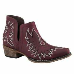 Roper Ava Embroidery Snip Toe   Womens  Boots   Ankle Low Heel 1-2'' - Red - Size