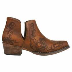 Roper Ava Embroidery Snip Toe   Womens  Boots   Ankle Low Heel 1-2'' - Brown -