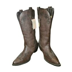 Roper Western Boots Womens Size 10.5 Scroll Brown Faux Leather Embroidery