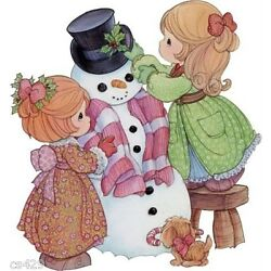 girl christmas Precious moments wall sticker glossy cut out border 5.5 inch