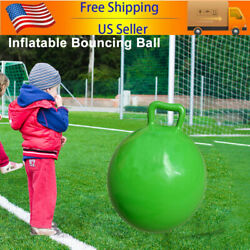 Exercise Toy Jumping Hop Ball Kids Inflatable Bouncing Ball w/ Handle Green D4O9