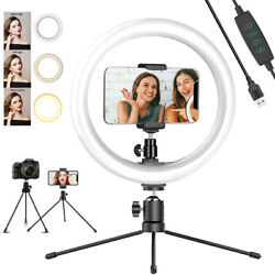 10'' Dimmable LED Ring Light w/ Tripod Stand Phone Holder for Live Stream Selfie