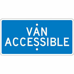 National Marker VAN ACCESSIBLE Sign - 6in. x 12in. Aluminum, Model# TMA1H
