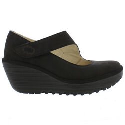 Ladies Fly London Yasi Cupido Black Autumn Winter Office Work Shoes All Sizes