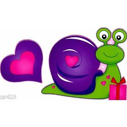 valentine Snail heart window cling decal set  4 inch
