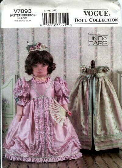 Vogue 7893 Oop 18 Quot Historical Doll Wardrobe Pattern Ebay