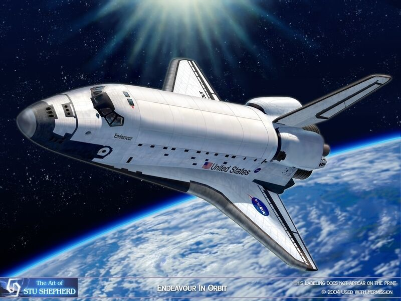 ART PRINT: Endeavour In Orbit - Space Shuttle by Shepherd ...