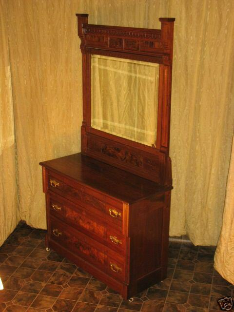 antique walnut dresser w mirror beveled ebay 87963