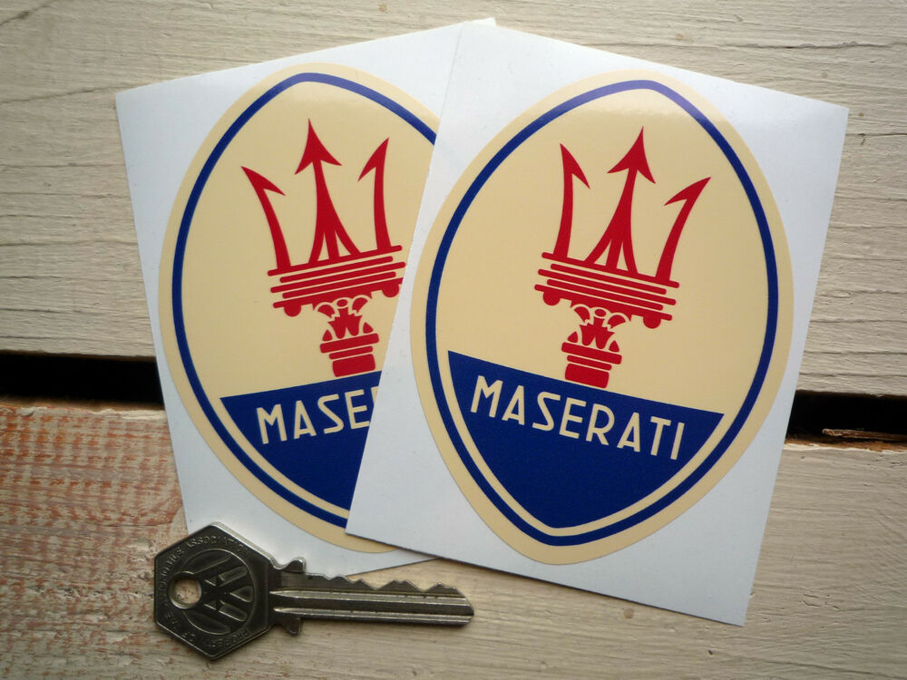 maserati logo classic car stickers 4 pair merak mistrale. Black Bedroom Furniture Sets. Home Design Ideas