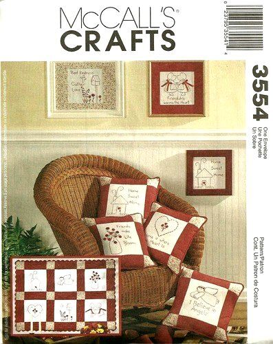 Mccalls 3554 Oop Home Decorating Redwork Crafts Pattern Ebay