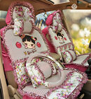 Car Seat Cover Ice Silk Cute Cartoon For All Car Vehicles 11pcs Front Rear