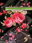 Black Red Roses Floral Smooth Soft Satin Fabric 48w Kimono Blouse Dress Craft