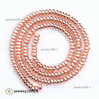 Wholesale Natural Gemstone Hematite Rondelle Loose Spacer Beads Silver Rose Gold