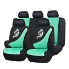 Green Car Seat Covers Butterfly Embroidery Universal Fit 5 Seat Auto Protectors