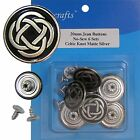 20 Mm No-sew Black Silver Jean Tack Buttons Collection Ct. 6