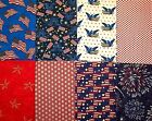 Lot Of 8 Assorted Red White Blue Patriotic Cotton Fabric Fat Quarters 117