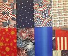 Lot Of 8 Assorted Red White Blue Patriotic Cotton Fabric Fat Quarters 116