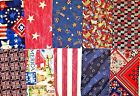Lot Of 10 Assorted Patriotic Cotton Fabric Fat Quarters Red White Blue Star 112