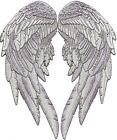 14.5 Angel Wings Embroidered Patch Feathers Festival Xlarge Black Silver 2pc.