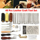 60pcs Leather Craft Tools Hand Sewing Stitching Carving Work Set Kit Punch Awl